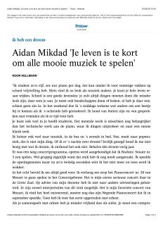 Aidan Mikdad 'Je leven is te kort om alle mooie muziek te spelen' - Trouw - Blendle